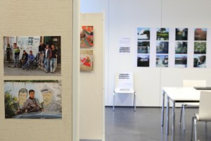 Exhibition room with photography by Anika Machura (left) and Thera Mjaaland (right)